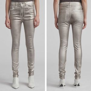 rag & bone • High Rise Metallic Skinny Jeans